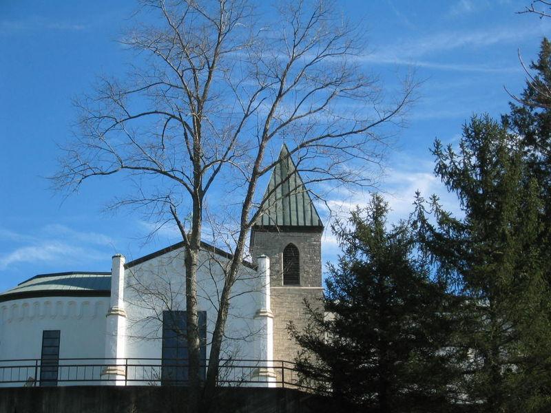 Abbey in winter sun